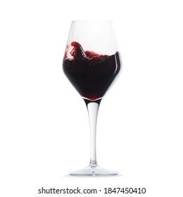 Dark red chocolate wine glass isolated on white with wine splash inside