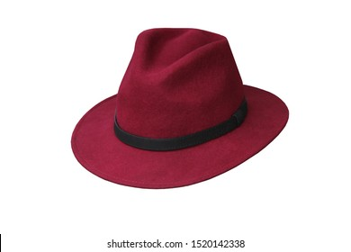 A Dark Red Felt Trilby Hat with a Black Band.