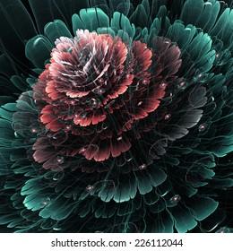 Dark red and green fractal flower, digital artwork for creative graphic design