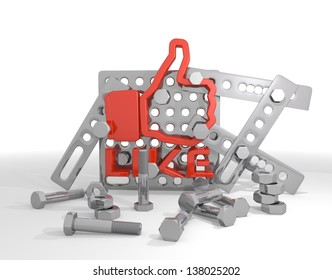 Dark red  technical machine 3d graphic with isolated like symbol  on mechanical construction