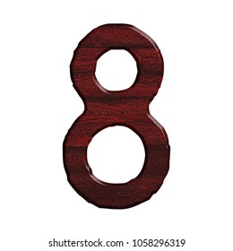 Dark red wood number eight 8 in a 3D illustration with a realistic wood grain texture and rich red color in a rustic font isolated on a white background with clipping path.