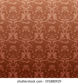 Dark repeating pattern in vintage style. Seamless baroque ornament with floral elements. Qualitative retro pattern for background, wallpaper, textile, etc
