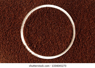 dark roasted ground coffee powder texture frame background