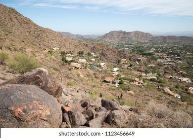 Dark rocks on Camelback mountain in Phoenix, Arizona