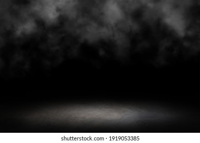 Dark room cement, concrete floor with smoke. black wall cement for product show with Elegant light background and texture. Abstract studio black room gradient background.