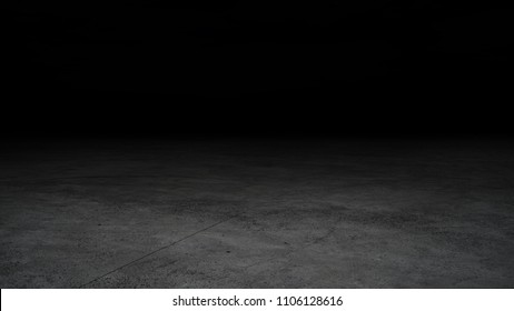 Dark room with concrete floors and soft spotlights.