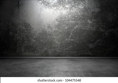 Dark room interior with cracks