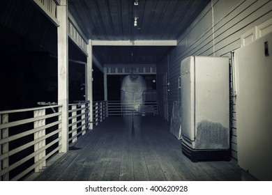 dark room with old man ghost