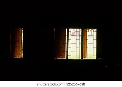 Dark room with open windows unique photo