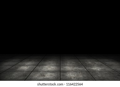 Dark room with tile floor background