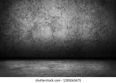 Dark room wall background.Black wall and floor interior background.