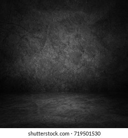 Dark room wall background.Wall and floor interior background.interior design or montage display your product.
