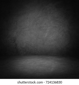 Dark room wall background.Wall and floor interior background.
