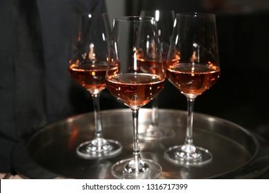 Dark Rose Champagne on Platter