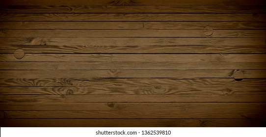 Dark rustic wood background with wooden boards on a floor or flat surface. Vintage reclaimed wood.