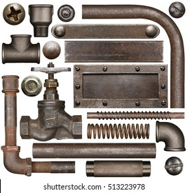 Dark and rusty industrial design elements. Various isolated parts of metal pipes, screws and plates.