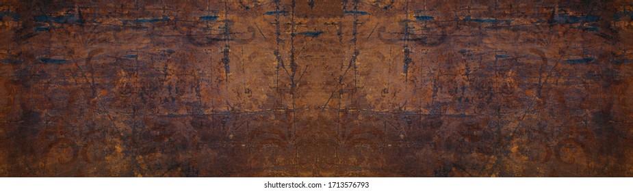 Dark rusty scratched pattern grunge metal tiles texture background banner panorama
