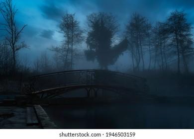 Dunkel gruseliger Park in der Nacht. Aus dem Nebel kommen Silhouetten von Bäumen. Geisterbrücke in der Mitte des Rahmens