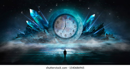 Dark scene with an abstract clock. Concrete circle time, precious stones. Night view, neon blue light. Futuristic mystical landscape.