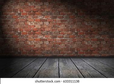 Dark scene with spotlight on red brick wall background. Empty bricks room with old wooden floor