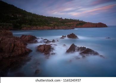 dark seascape around a coastline
