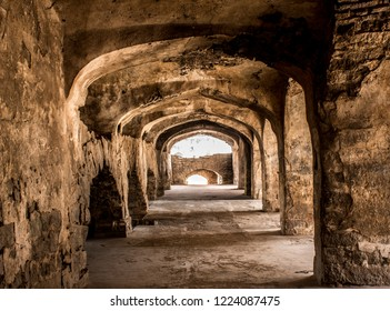 The dark shades of architecture of Golcaonda fort. This photo is taken in Golconda Fort, Hyderabad.