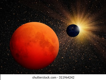 """The dark side of the moon with Lunar eclipse Planet Earth in the background """"Elements of this image furnished by NASA"""""""
