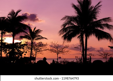 Dark silhouettes of palm trees and a yacht on the wate and amazing cloudy sky on sunset at Koh Samui island, Coconut trees, beach, sunset, orange, red sky, beautiful sky