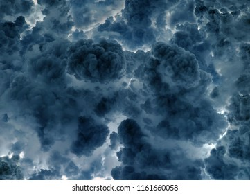 Dark sinister clouds abstract background. Steam looking nimbus with back light.