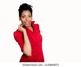 Dark Skinned Hispanic woman in Red Shirt Smiling at camera on pure white isolated background