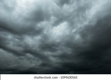 Dark sky and black clouds, Dramatic storm clouds before rainy, Closeup black cloud motion