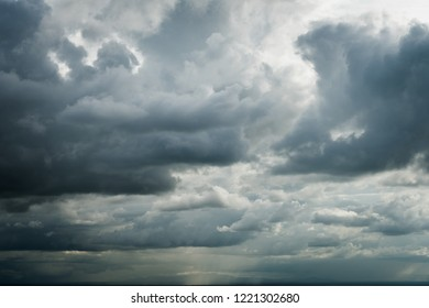 Dark sky and black clouds, Dramatic storm clouds