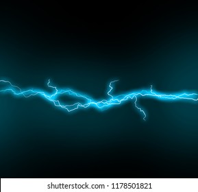 Dark sky with blue lightening illustration. Lightening and thunder bolt glow and sparkle effect. Vector illustration of storm sky.