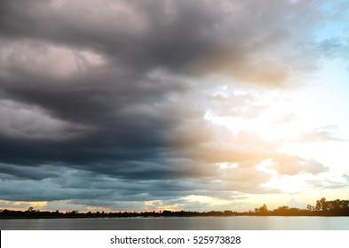 Dark sky and dark cloud ,before the rain,storm clouds