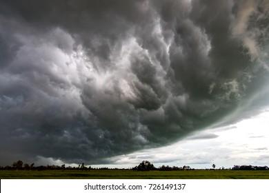 Dark sky and dramatic black cloud before rain.Big rainy storm