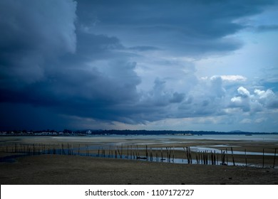 Dark sky during thunderstorm or dark clouds background