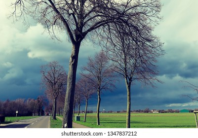Dark sky with hail bearing threatening nimbostratus clouds over country road and bare trees announcing thunder storm. Sun and dark sky causing extreme bright light conditions.  Viersen, Germany