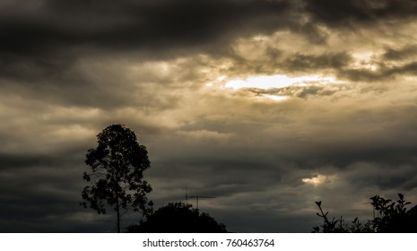 Dark sky and highlight in cloud with shadow tree