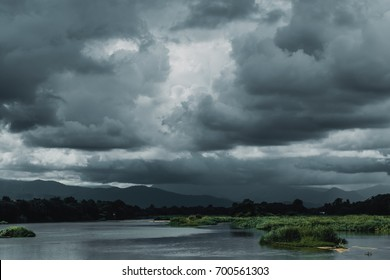 dark sky storm cloudy river landscape view
