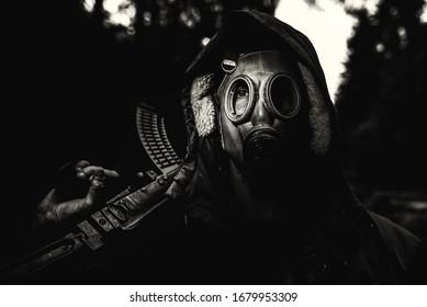 Dark solder with guns and masks
