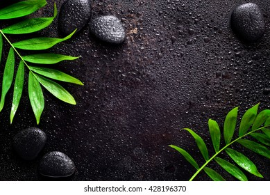 Dark spa background, moisturizing concept, palm leaves and black stones on a dark wet surface, top view