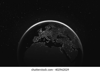 Dark space earth view with city lights Elements of this image furnished by NASA