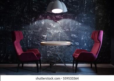 Dark spiral modern designed stairway indoors