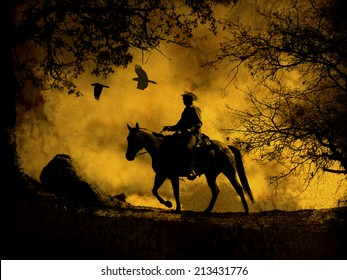 A dark spooky image of a silhouette cowboy with clouds and birds flying above.