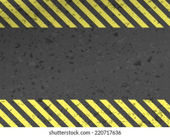 Dark steel background with yellow caution stripes