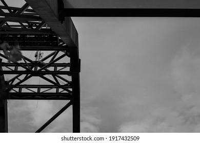 DarK steel in the SKY, figure metal, and lines....
