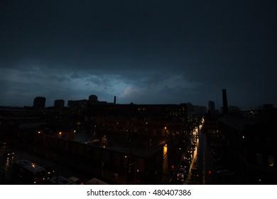 Dark Storm rolling into the city of Toronto