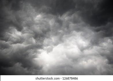 Dark storm sky with light part
