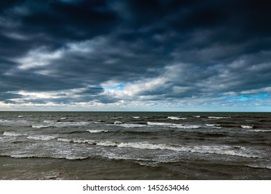 Dark and stormy Baltic sea.
