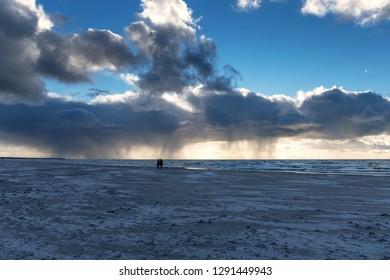 Dark and stormy clouda above Baltic sea.